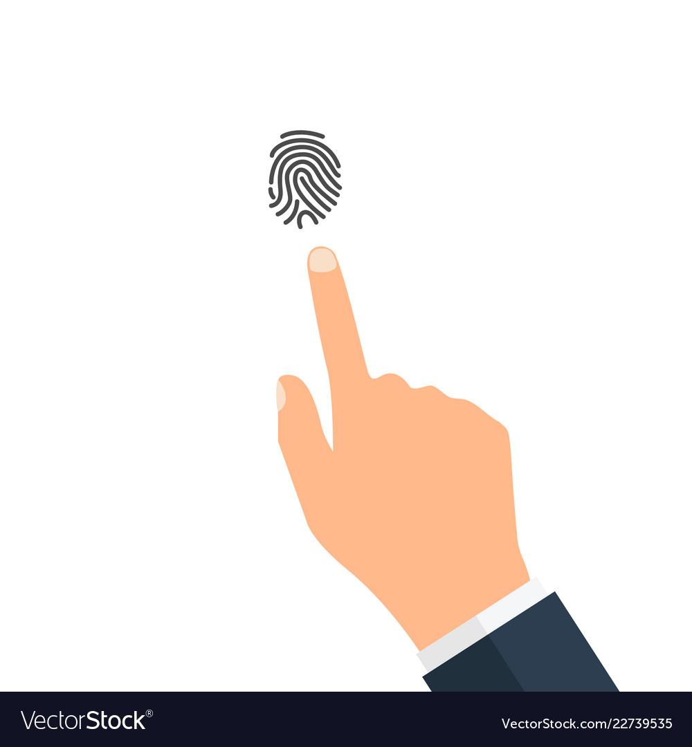 Fingerprint icon identification isolated on white