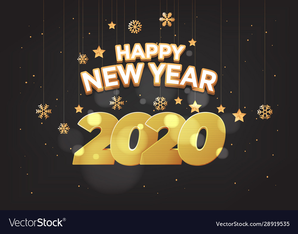 Happy new year 2020 numbers typography greeting