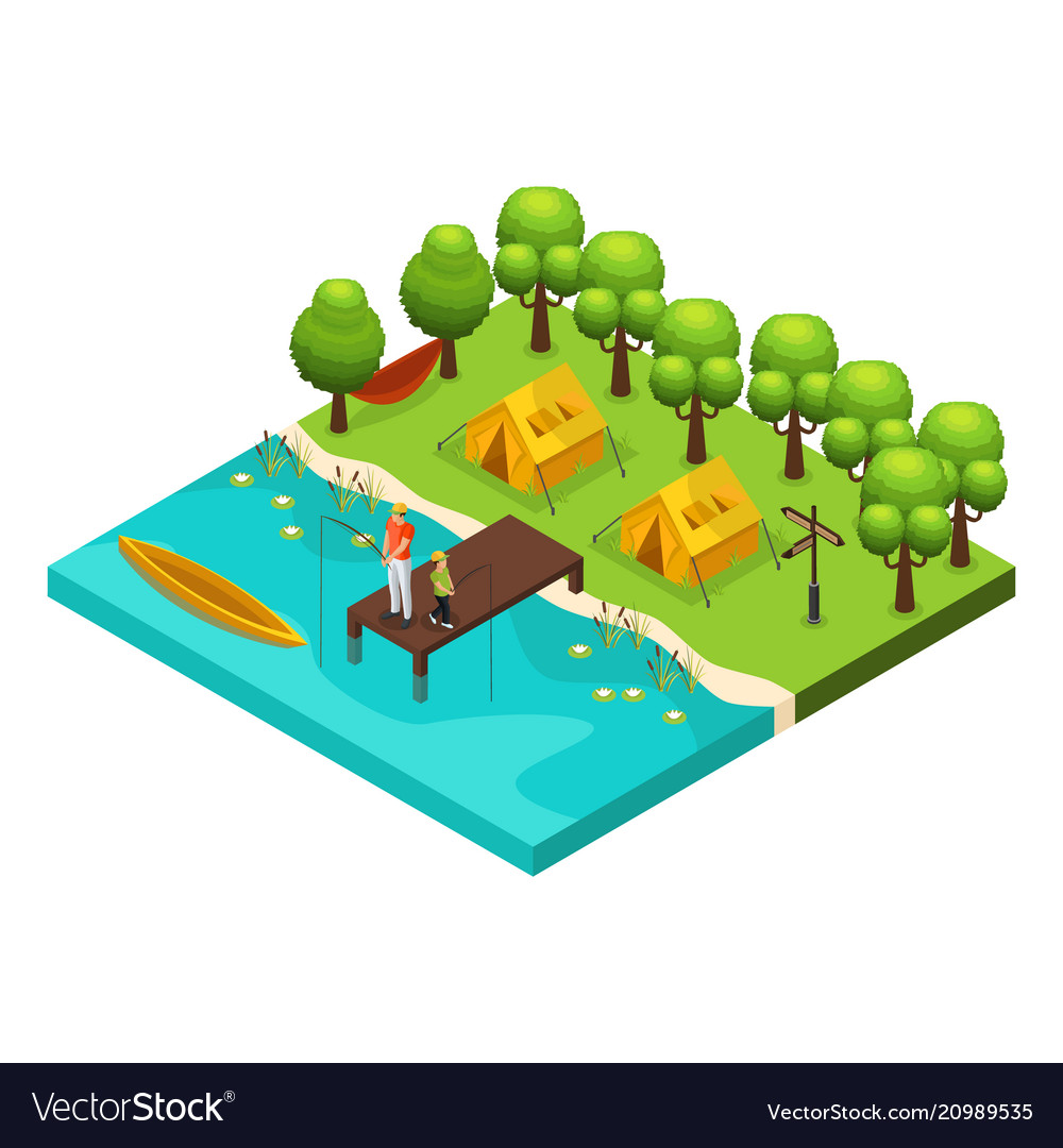 Isometric weekend recreation concept
