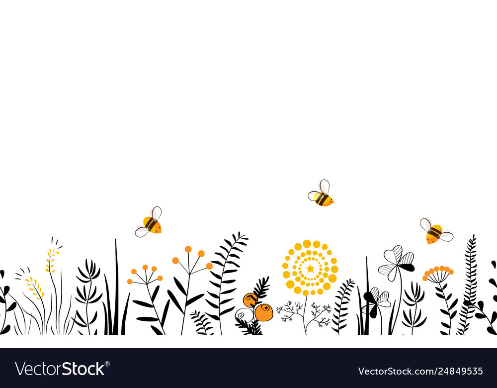 Nature seamless background with hand drawn