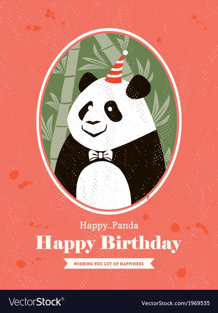 Panda Animal Cartoon Birthday card design