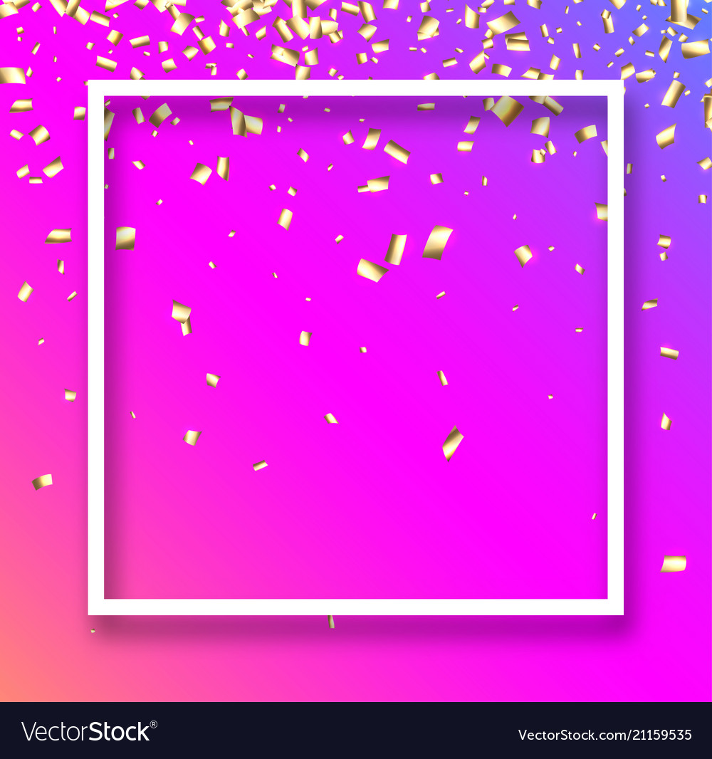 Pink festive background with gold confetti