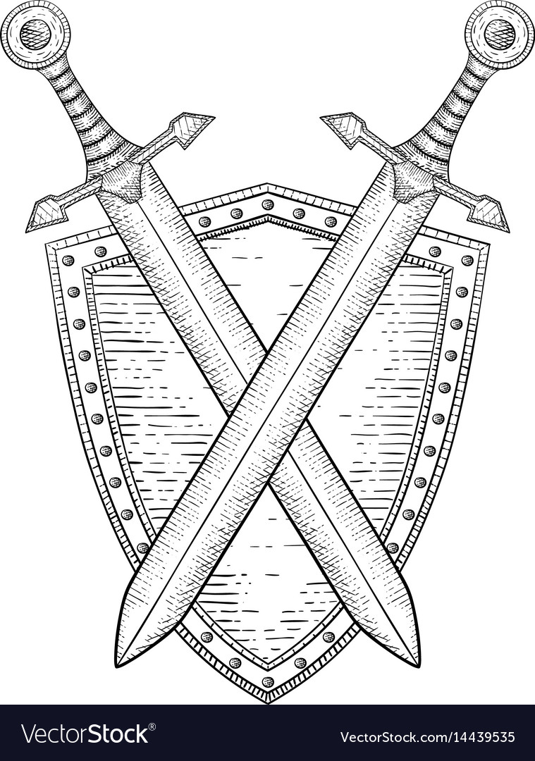 Shield with crossed swords hand drawn sketch