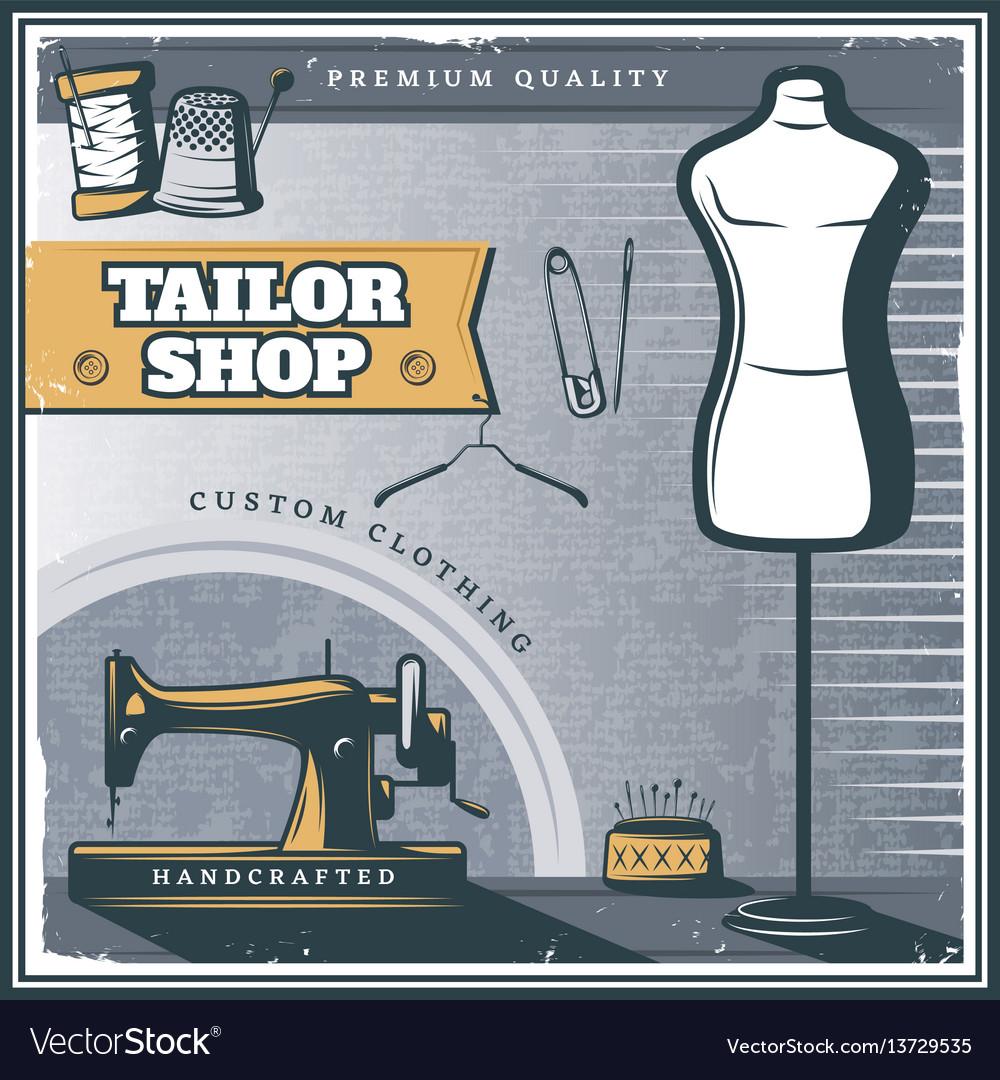 Vintage tailor shop poster