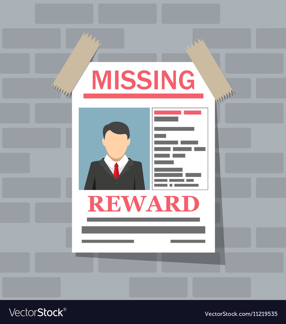 Wanted man paper poster Missing announce vector image