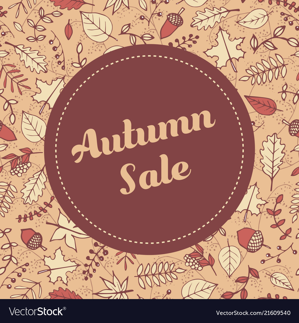 Autumn sale banner template with leaves