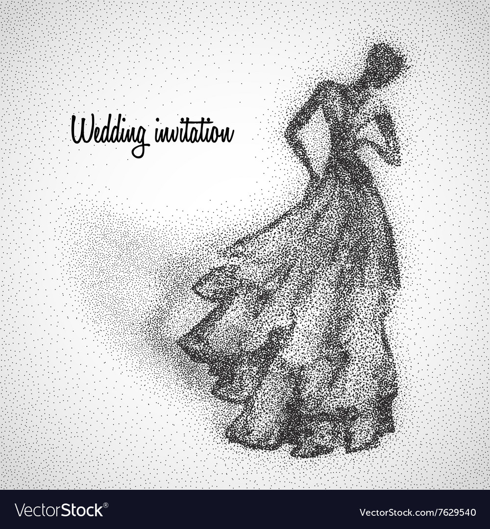Beautiful bride made from particles vector image