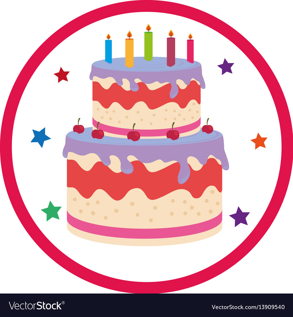 Pleasing Color Background With Birthday Cake Royalty Free Vector Personalised Birthday Cards Cominlily Jamesorg