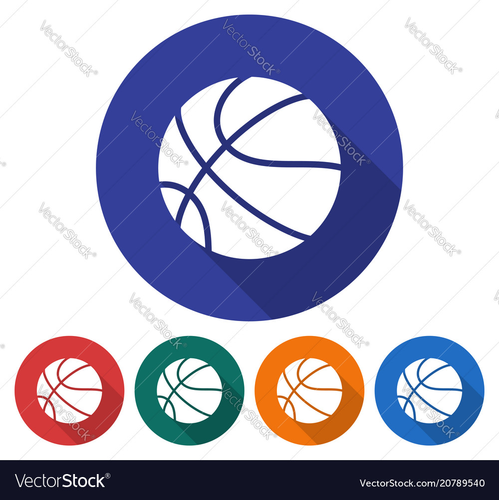 Round icon of basketball flat style with long