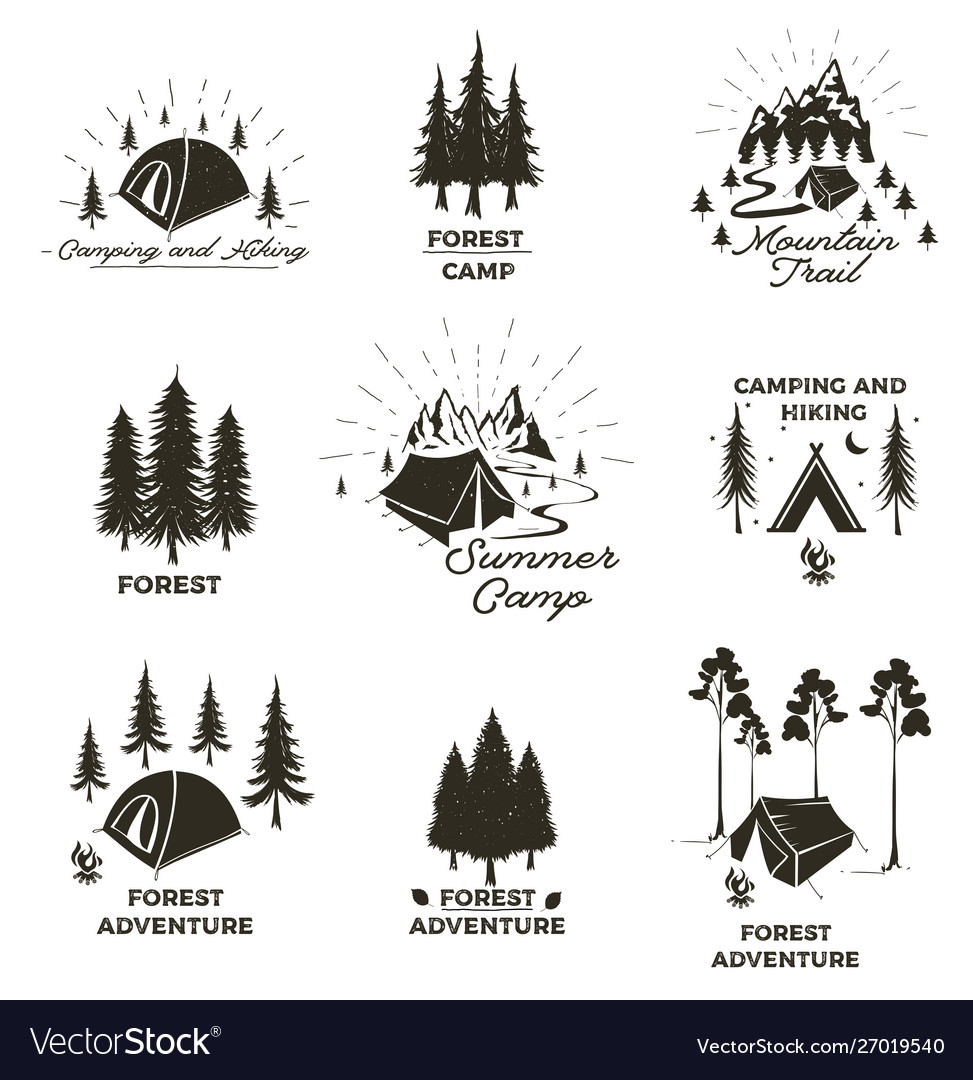 Set vintage camping and outdoor adventure