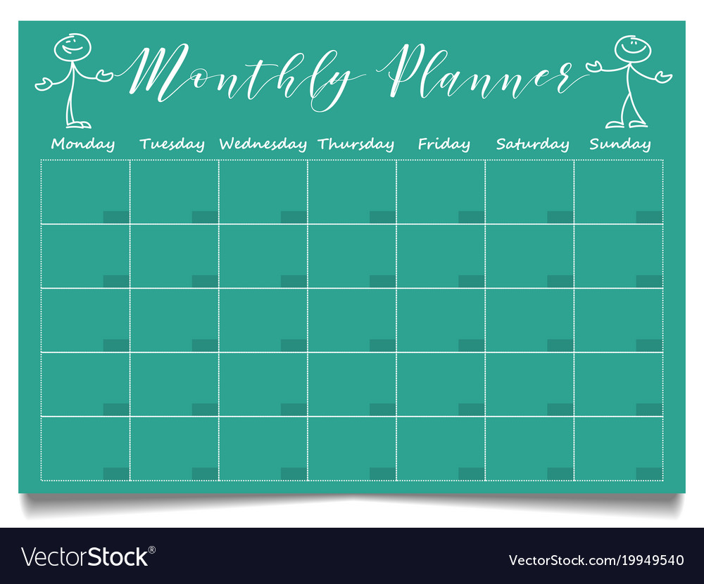 simple monthly planner template with hand drawn vector image
