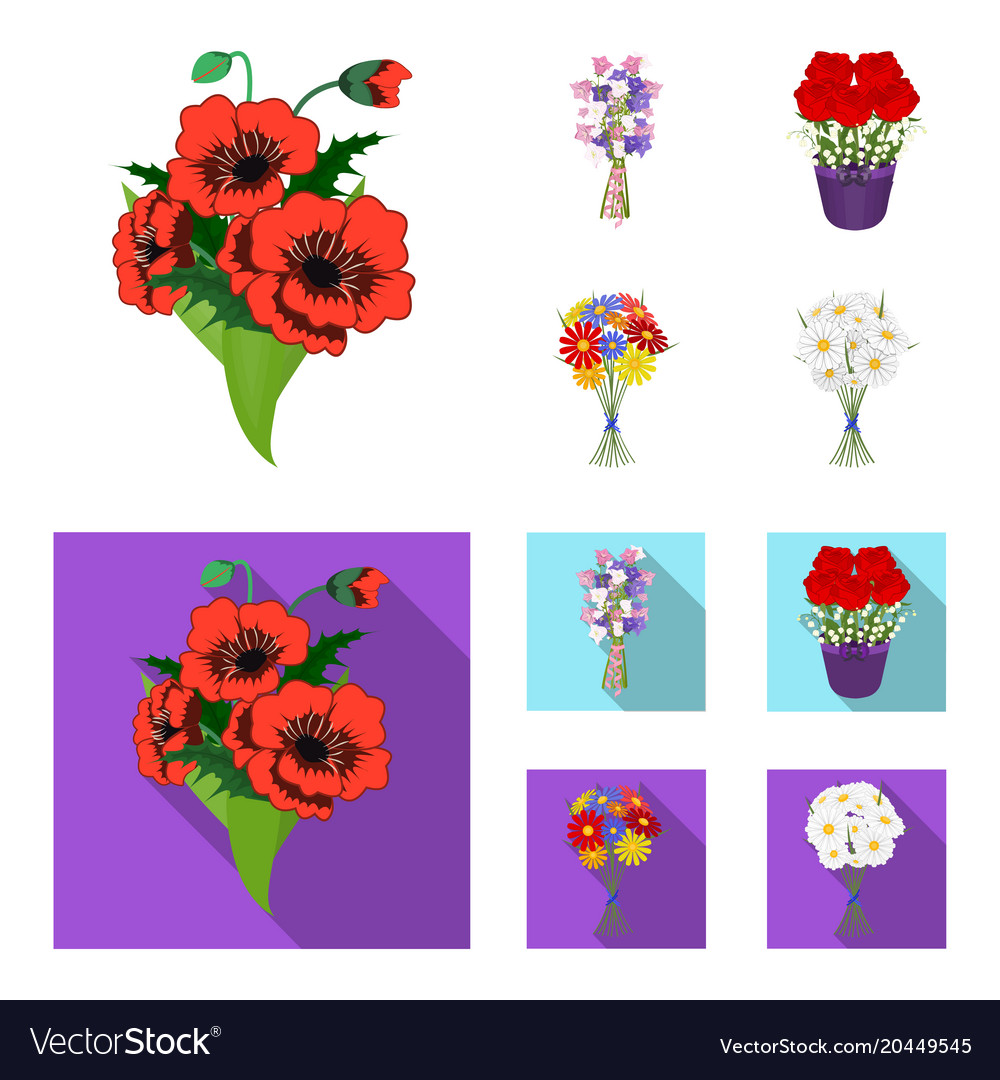 A bouquet of fresh flowers cartoonflat icons in vector image izmirmasajfo
