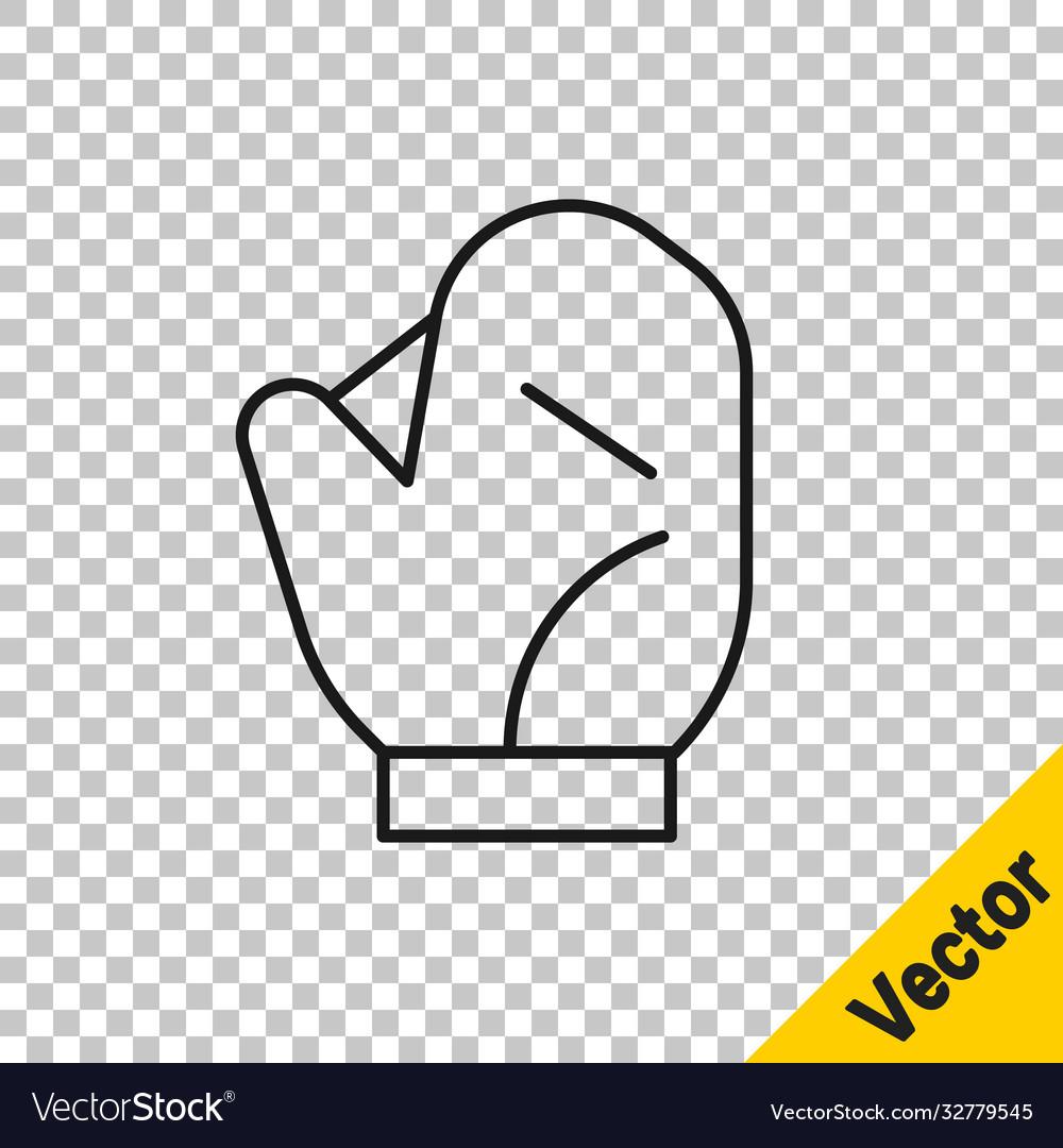 Black line baseball glove icon isolated