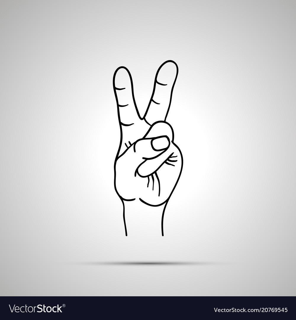 Cartoon hand in victory gesture simple outline