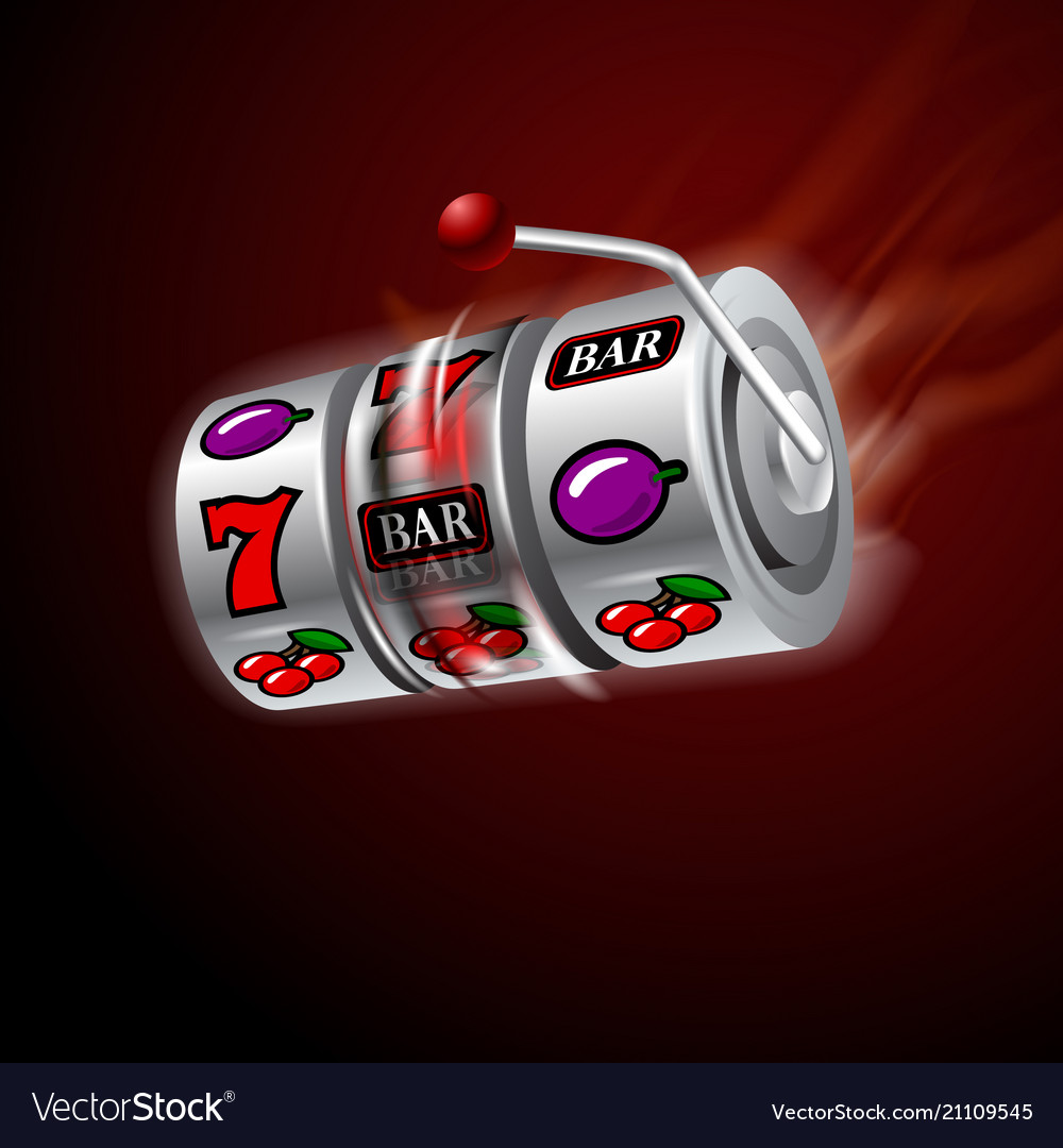 Casino slot machine in motion glowing fire