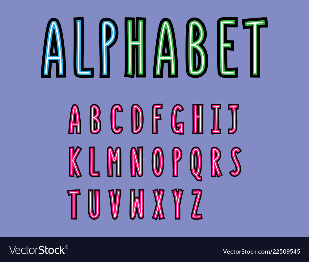 Colorful font alphabet modern font minimalist