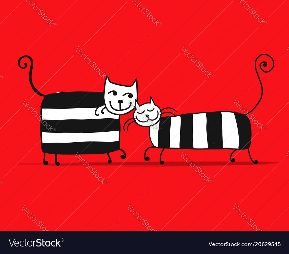 Couple of striped cats sketch for your design