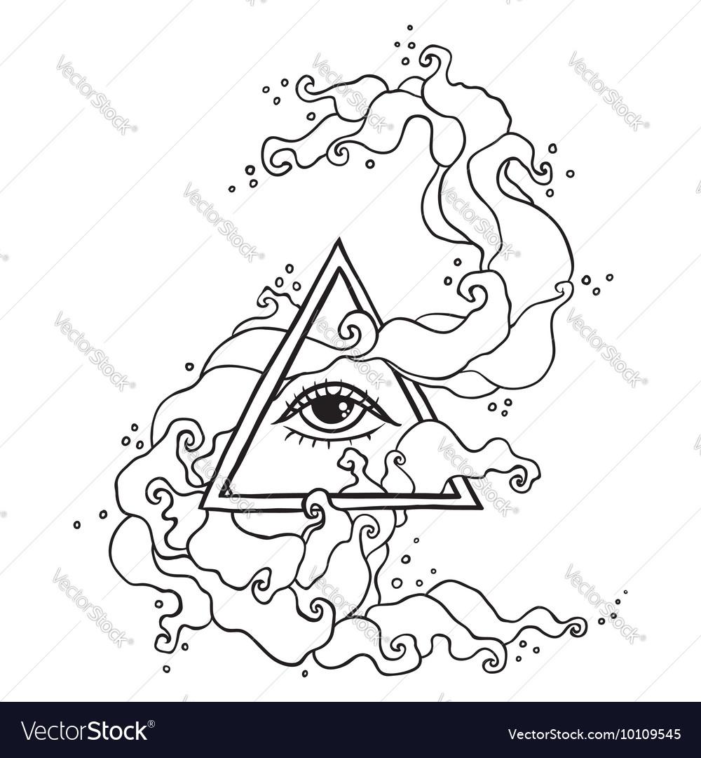 Eye in pyramid with mystic smoke