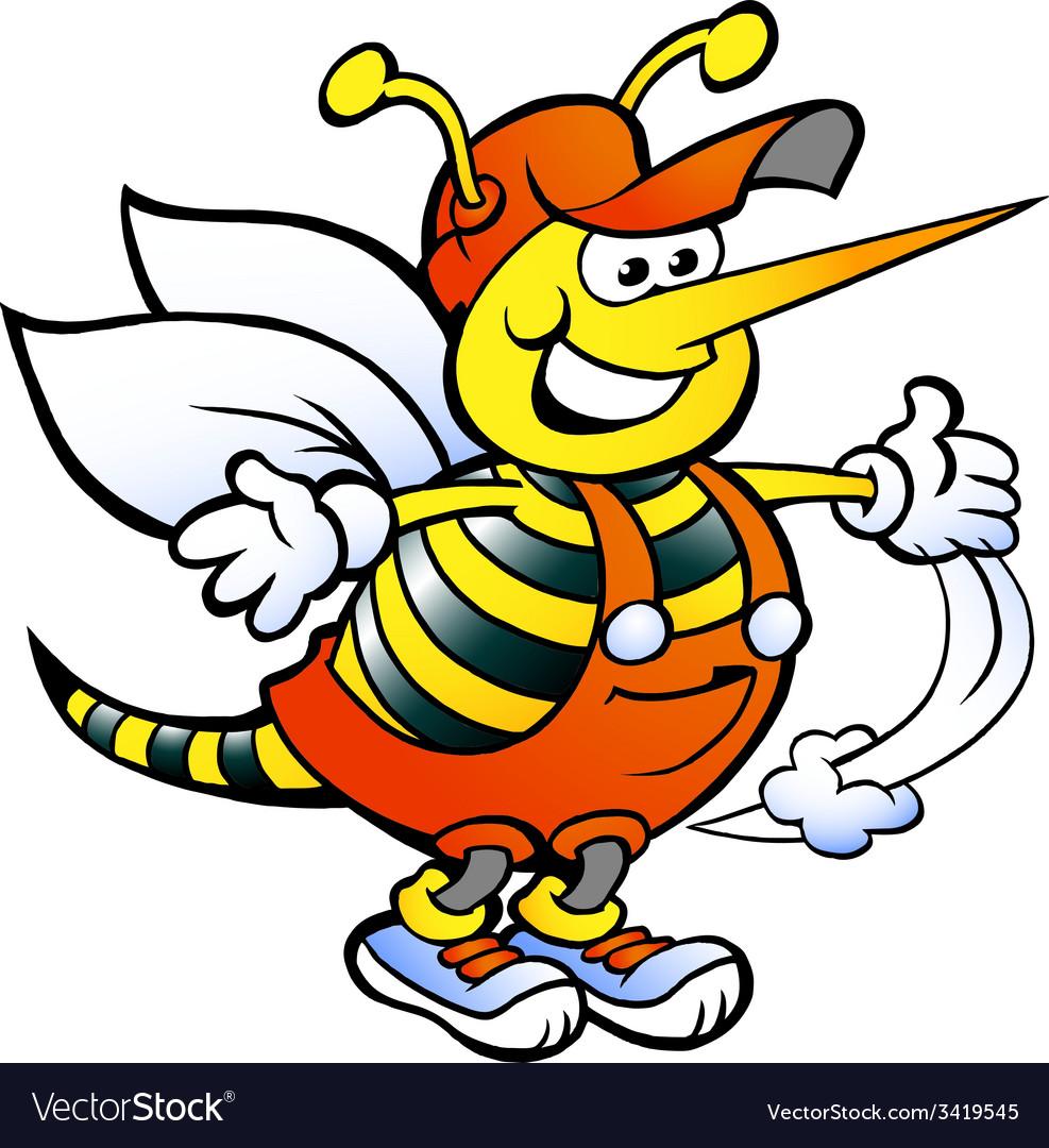 Hand-drawn of an Happy Handyman Bee