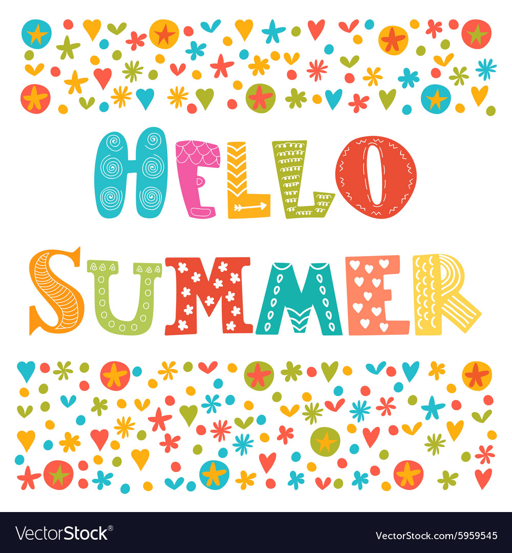 Hello summer card with decorative design elements