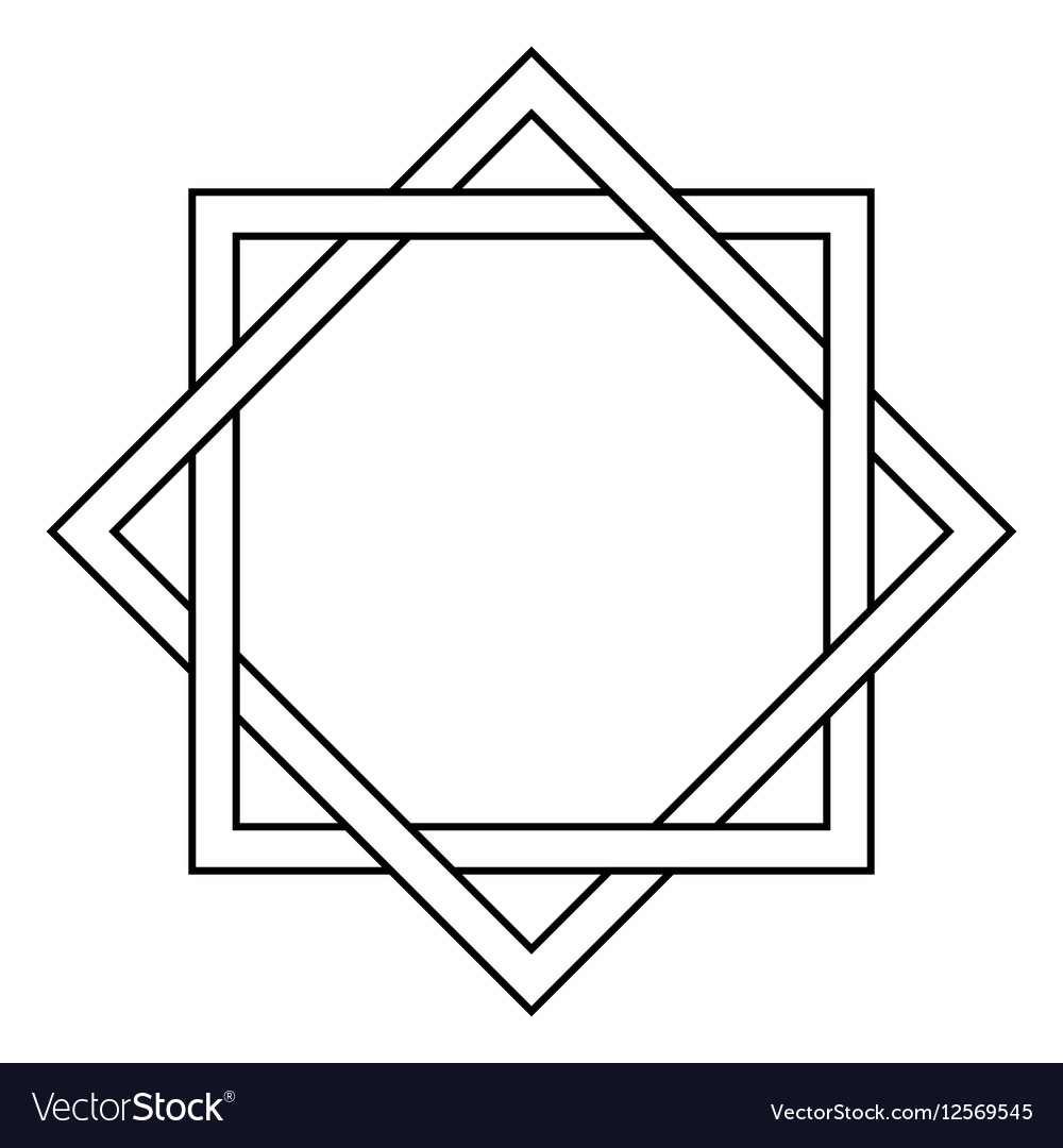 Interlocking square and diamond tattoo vector image
