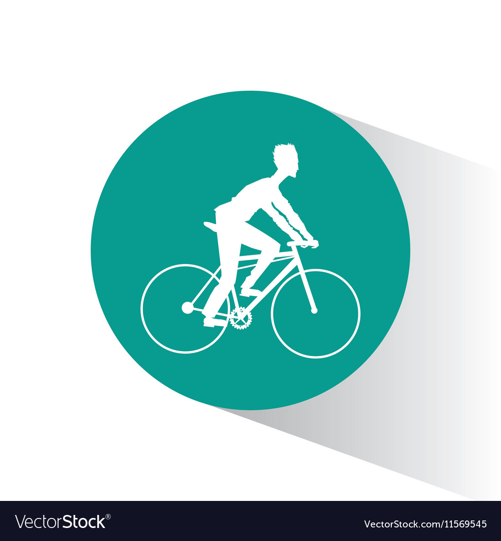 Man riding bike inside circle design