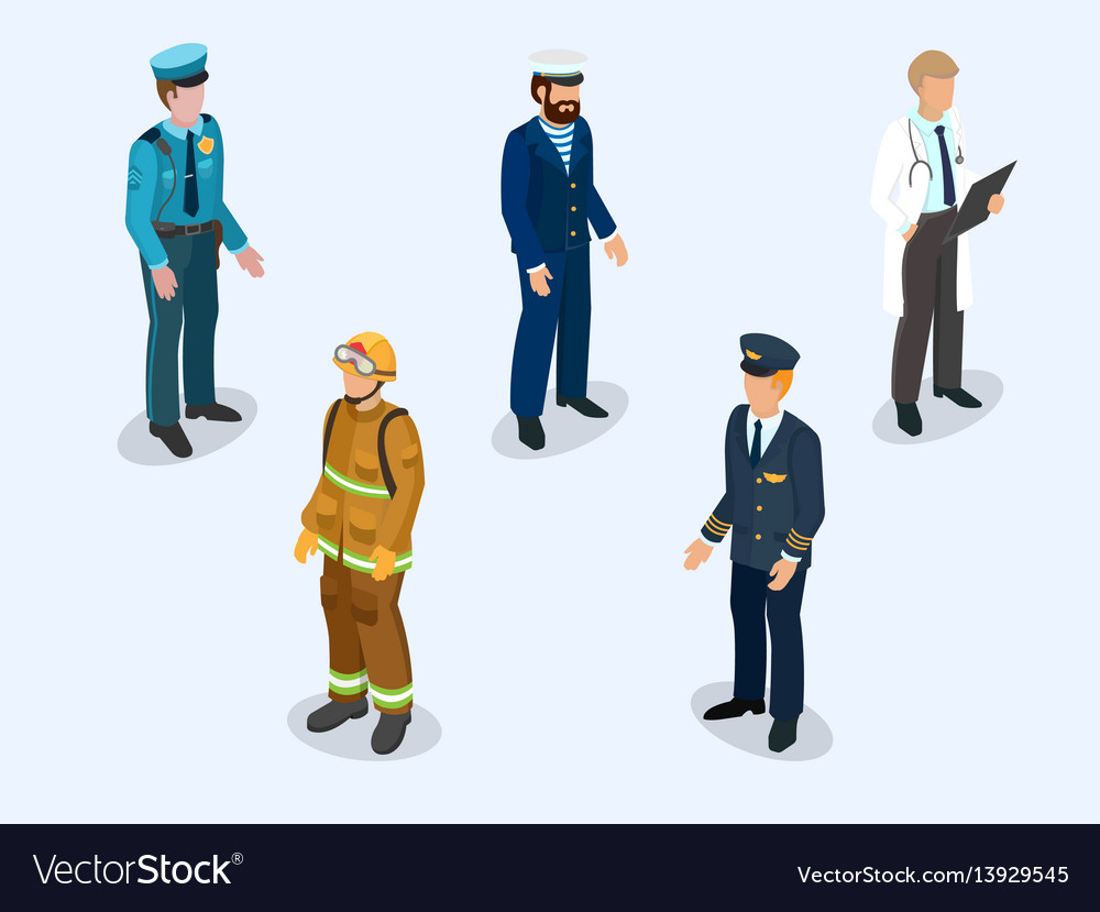 Pilot sailor doctor firefighter and policeman