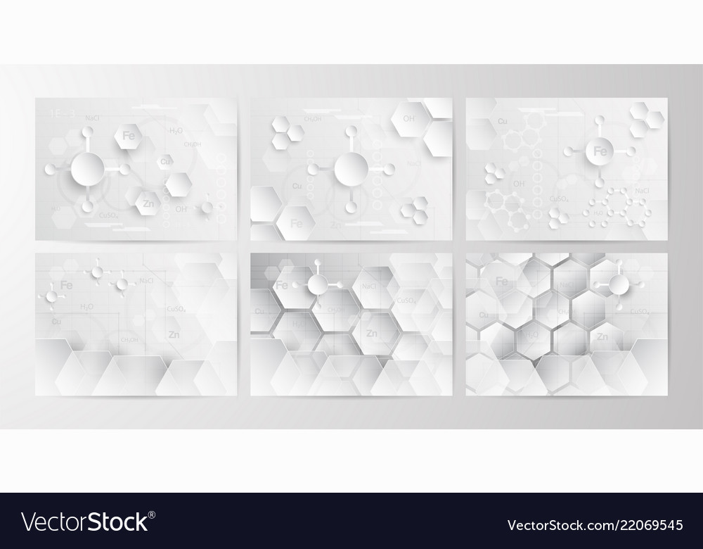 Set of abstract chemical background in grey and