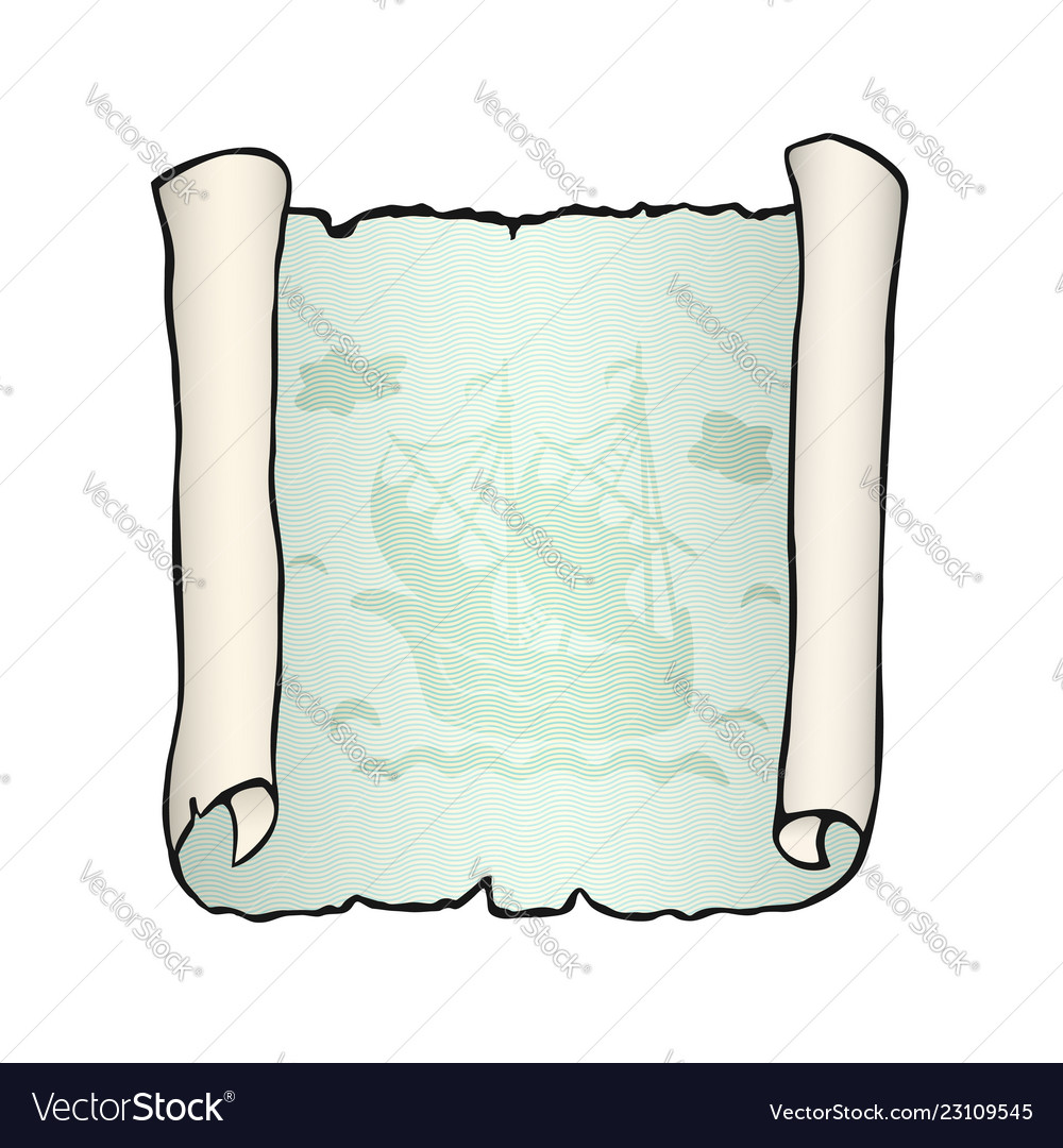Sketch of ancient scroll with ship isolated on