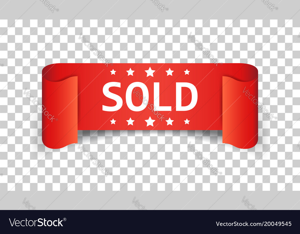 Sold ribbon icon discount sale sticker label on
