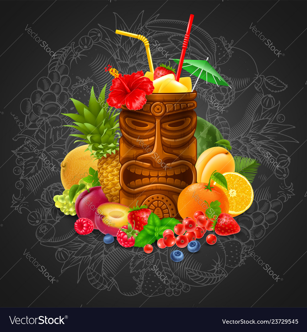 Tiki cocktail with fruits on blackboard background