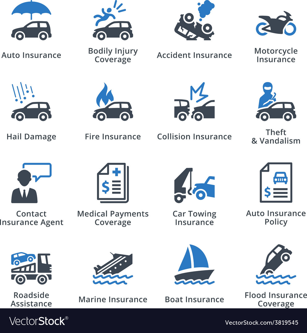 Vehicle Insurance - Blue Series vector image