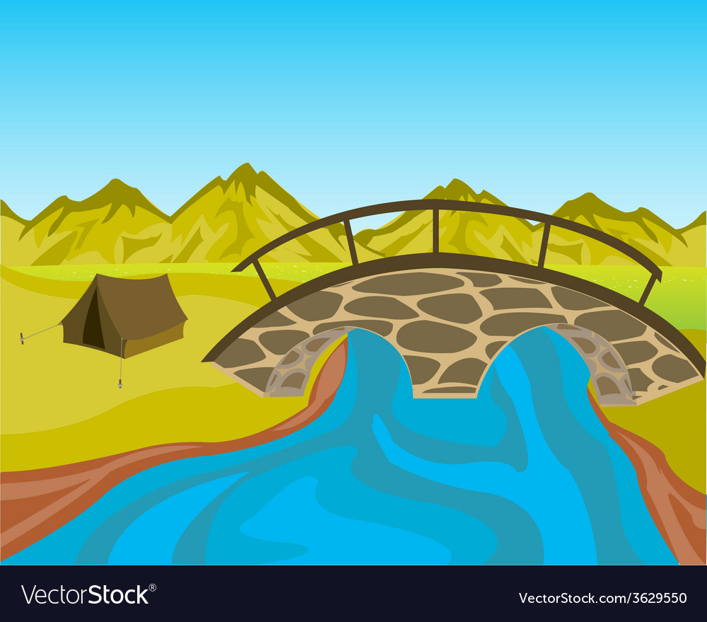 bridge through river royalty free vector image vectorstock