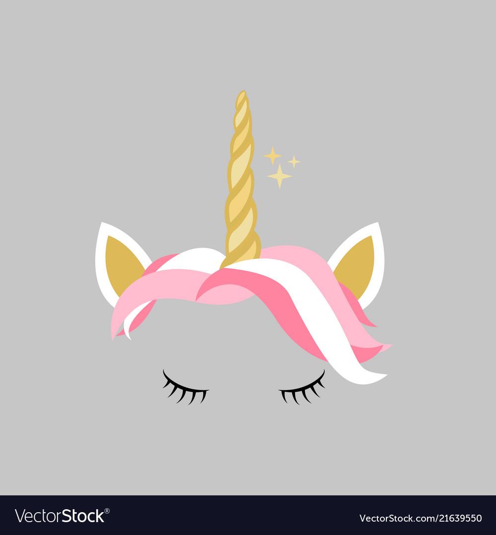 Cute pink gold unicorn design icon