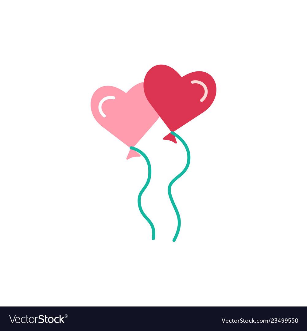 Heart shaped balloons flat icon