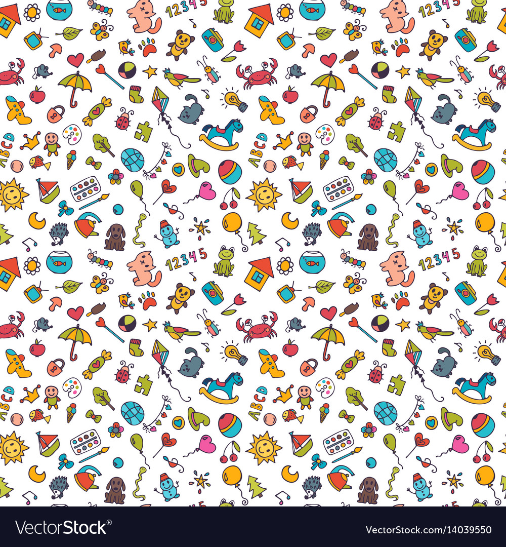 Sketch set of drawings in child style doodle vector image