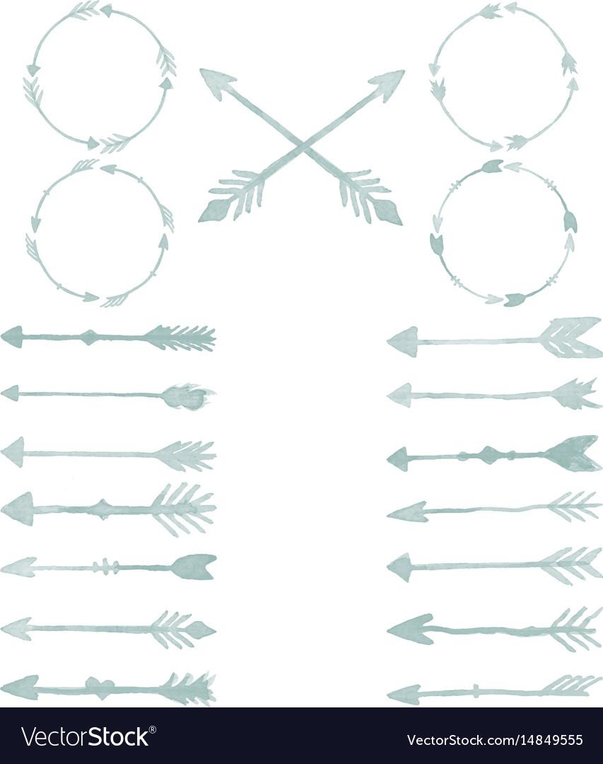 Arrow watercolor design elements set