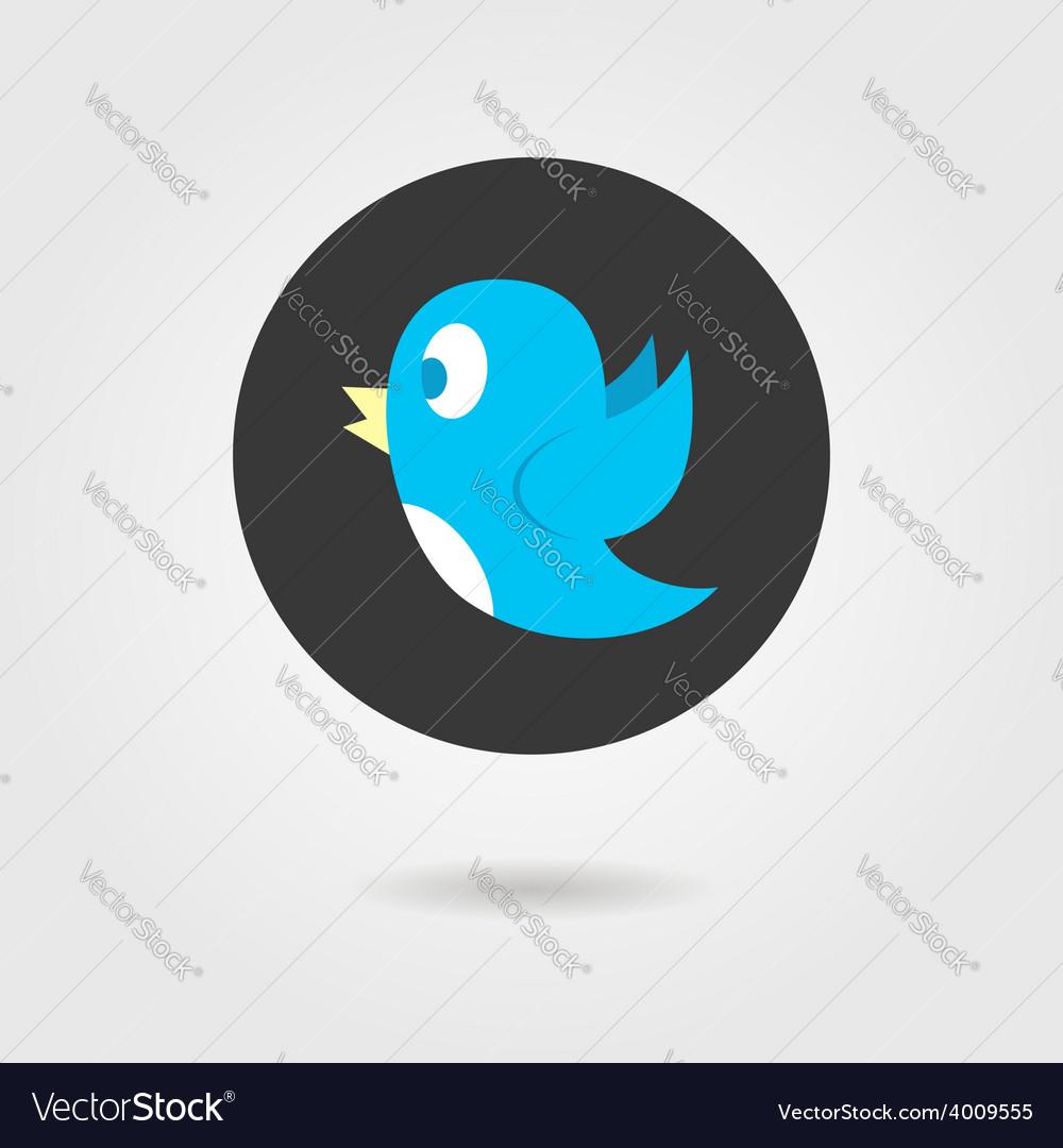 Blue birdy in black circle