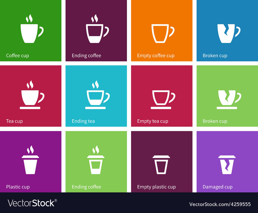 Coffee cup and Tea mug icons on color background