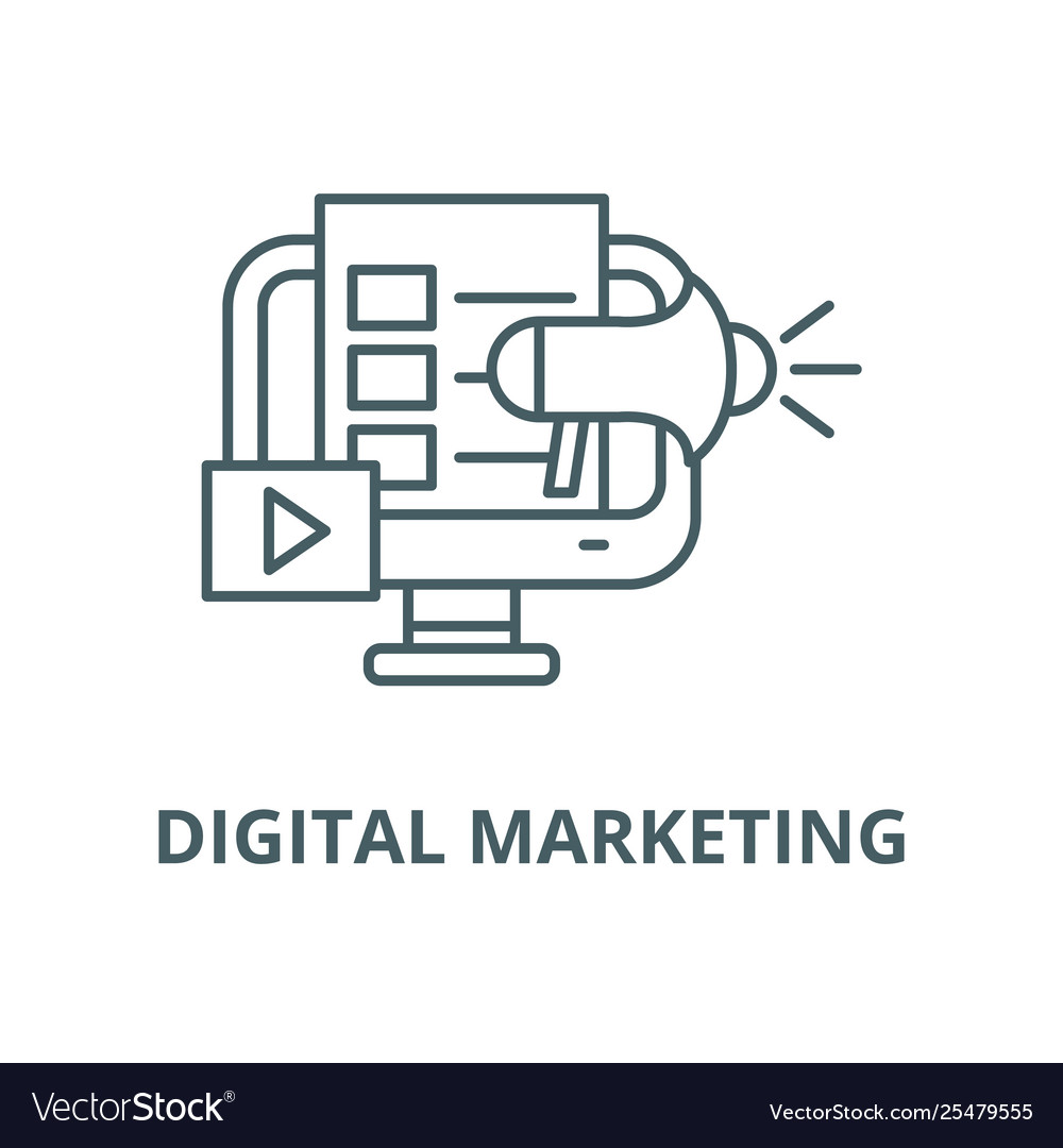 Digital marketing line icon linear concept