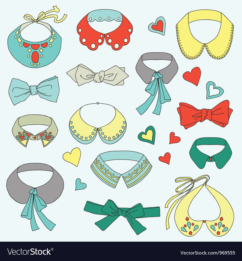 Fashion collar and bow tie set vector image