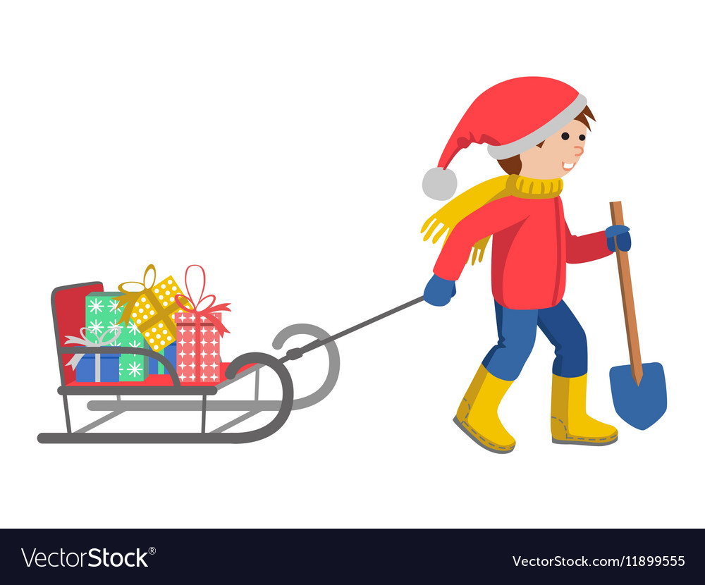 Little boy in winter clothes pulling a sled vector image