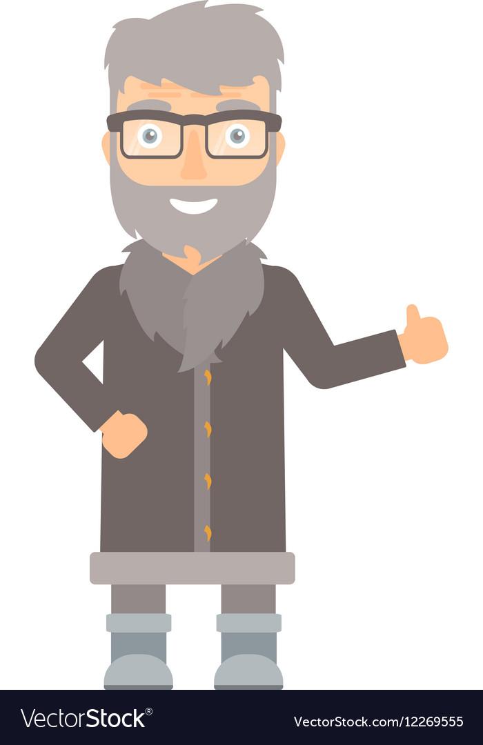 North man giving thumb up vector image