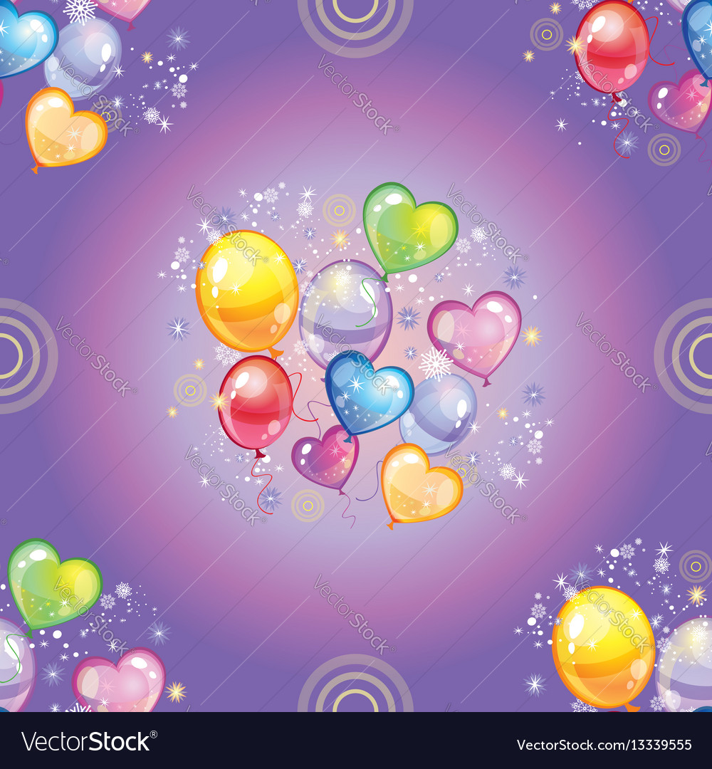 Seamless pattern with colorful balloons on purple