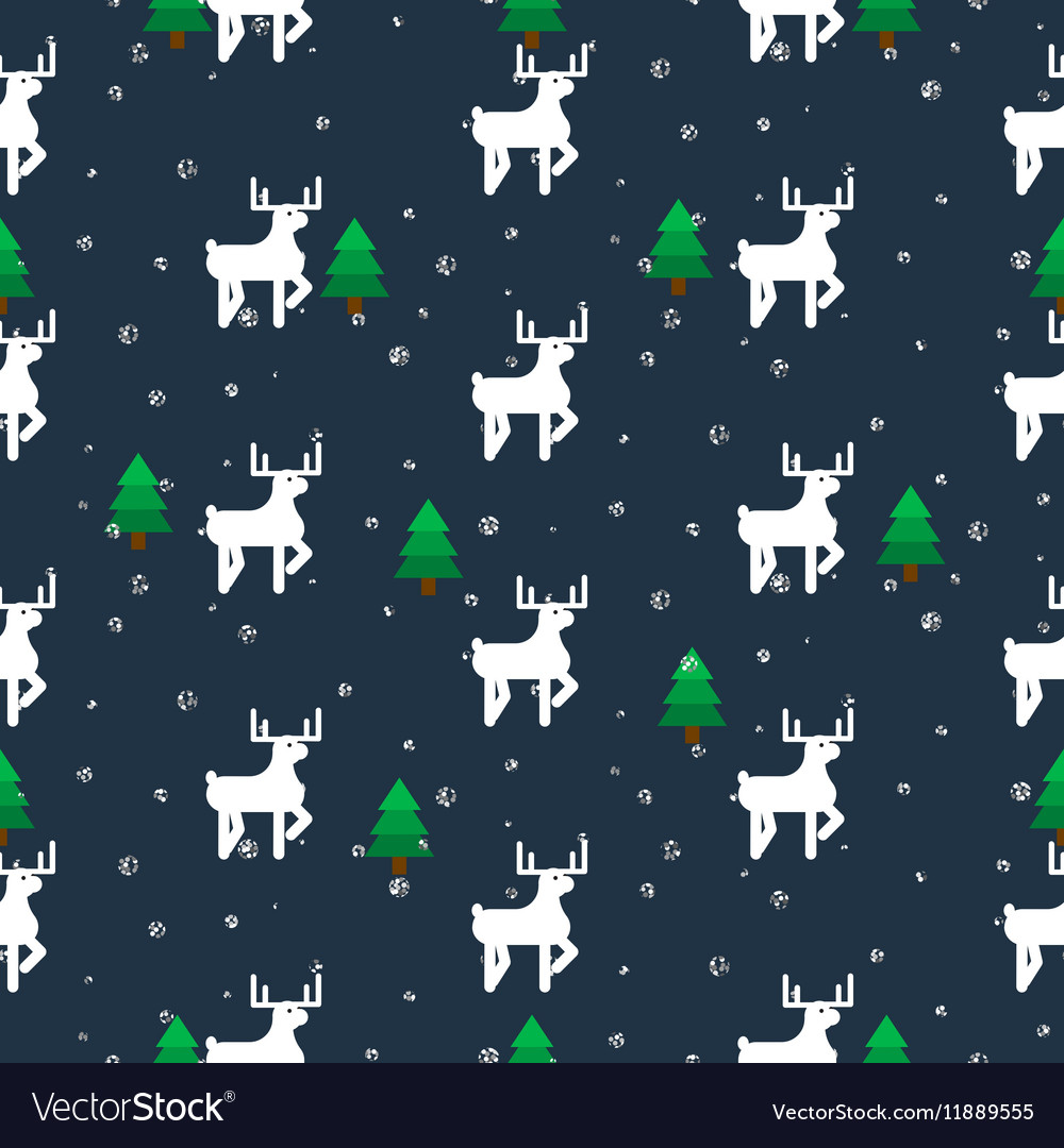 White deer in a forest seamless pattern