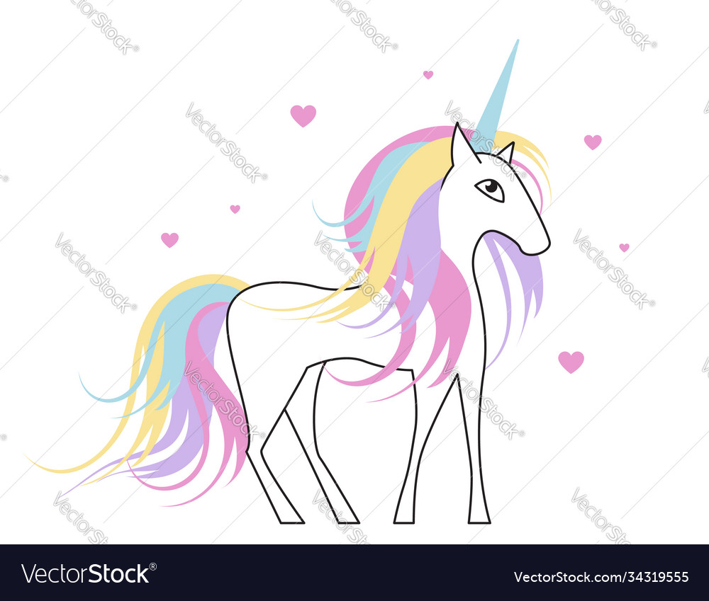 White unicorn with rainbow hair for bagirl