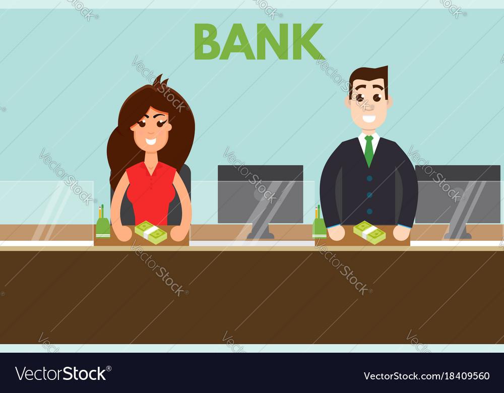 Bank teller or cashier behind window