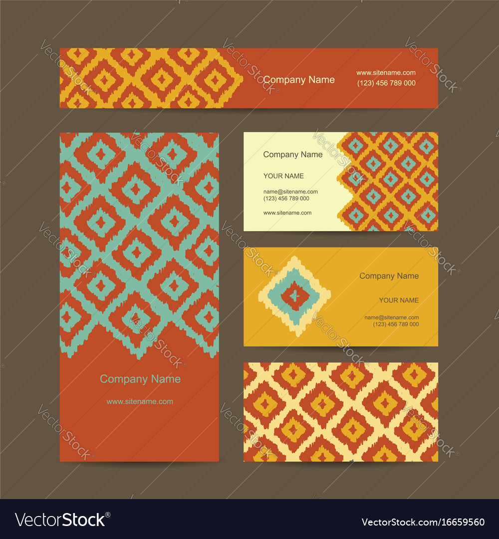 Business cards design geometric fabric pattern vector image colourmoves