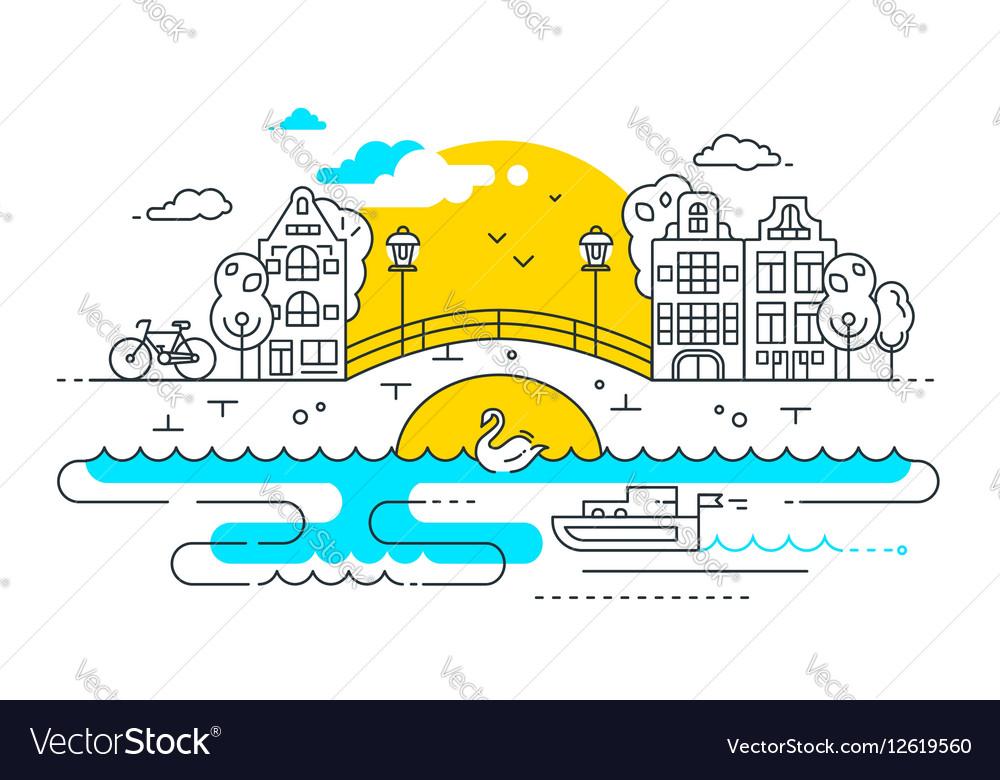 City Life - line design composition vector image
