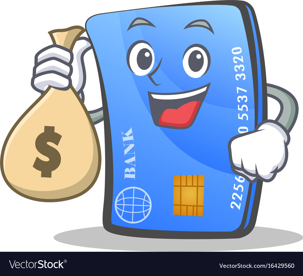 credit card character cartoon with money bag vector image